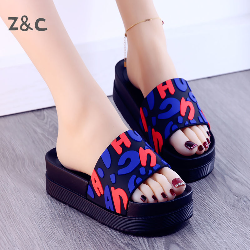 AliExpress - Slippers for Women's Home wear 2020 Summer New Letter Thick Bottom Sandals Ersatile Medium Heel Sequins Fashion Girl's Shoes