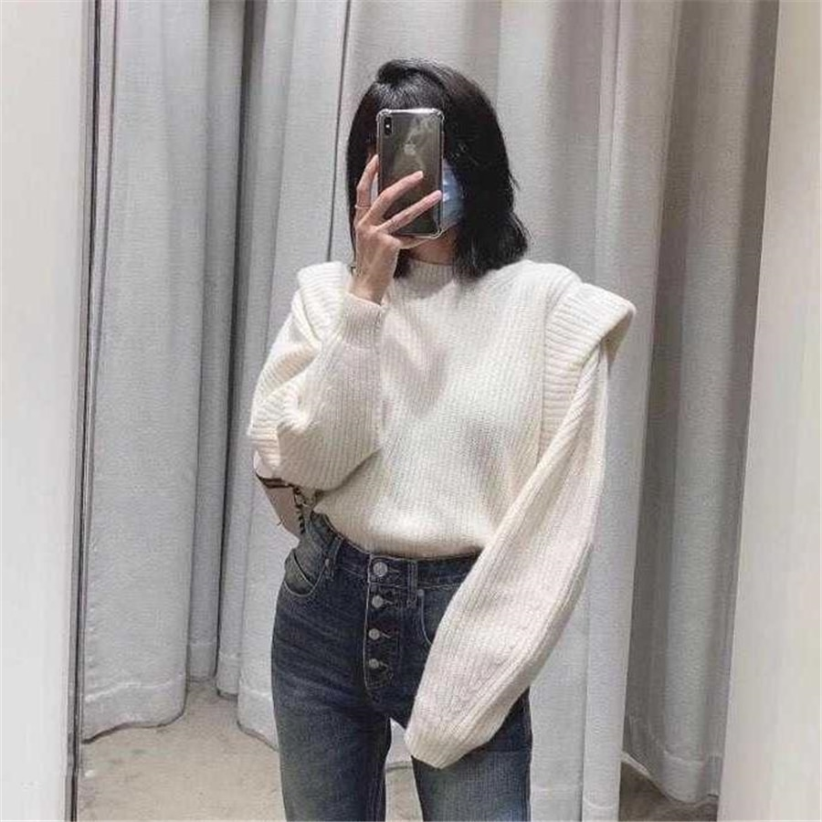 Office Lady Elegant Casual Style White Women Sweater Sweet Butterfly Sleeve Ruffles Solid Simple Winter Clothes Women 2020