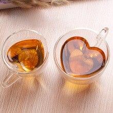 180ml/240ml coeur amour en forme de thé bière tasse jus tasse tasses à café tasse cadeau Double paroi verre tasse résistant à la chaleur Drinkware