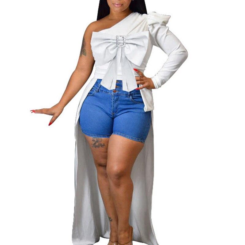 2019 moda frente corto espalda larga Sexy arco parte superior de un hombro manga larga mujeres abertura sólida blusas largas blusas de talla grande