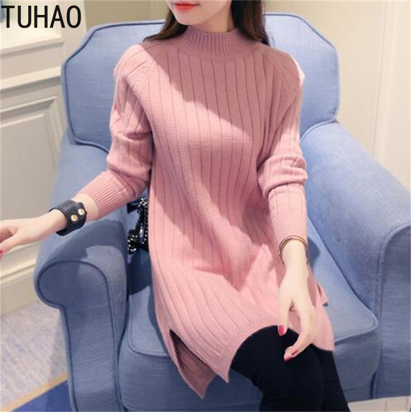 TUHAO suéter vestido ropas de invierno para mujer manga larga suelta Oversize Jumper vestido túnica tirar otoño suéteres Jersey HC29