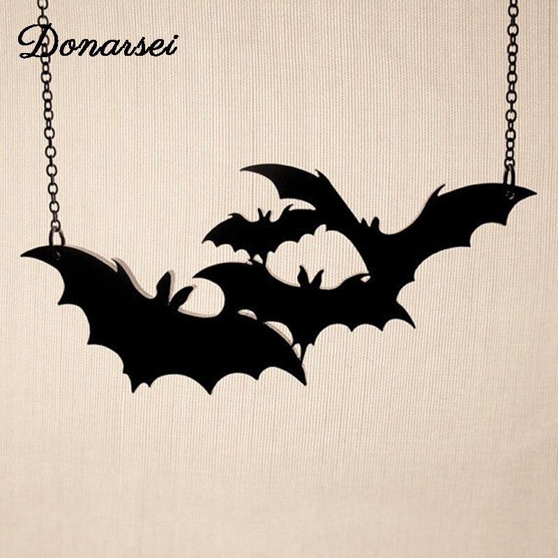 Donarsei Acrílico Preto Colar de Morcego Para As Mulheres do Dia Das Bruxas Hallowmas Traje Cosplay Animais Pingente de Colar Do Punk Dia de Todos Os Santos