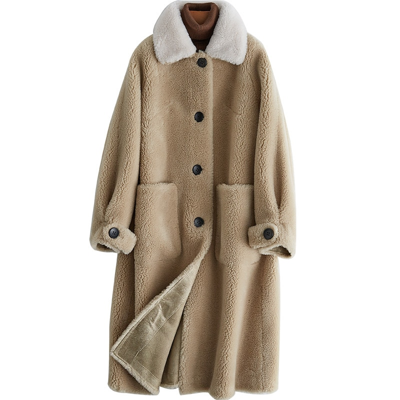 Véritable manteau de fourrure laine veste automne hiver manteau femmes vêtements 2020 coréen mouton peau de mouton fourrure daim doublure Abrigo Mujer ZT3603