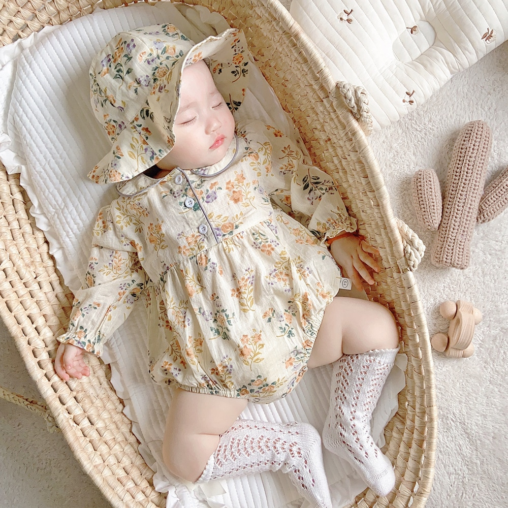 Girls Floral Rompers Long Sleeve Autumn Clothes Jumpsuit Playsuit Newborn Baby Girls Clothing Infant Baby + Hat cute newborn baby clothing long sleeve cotton solid baby rompers peter pan collar girls boys clothes jumpsuit infant costumes