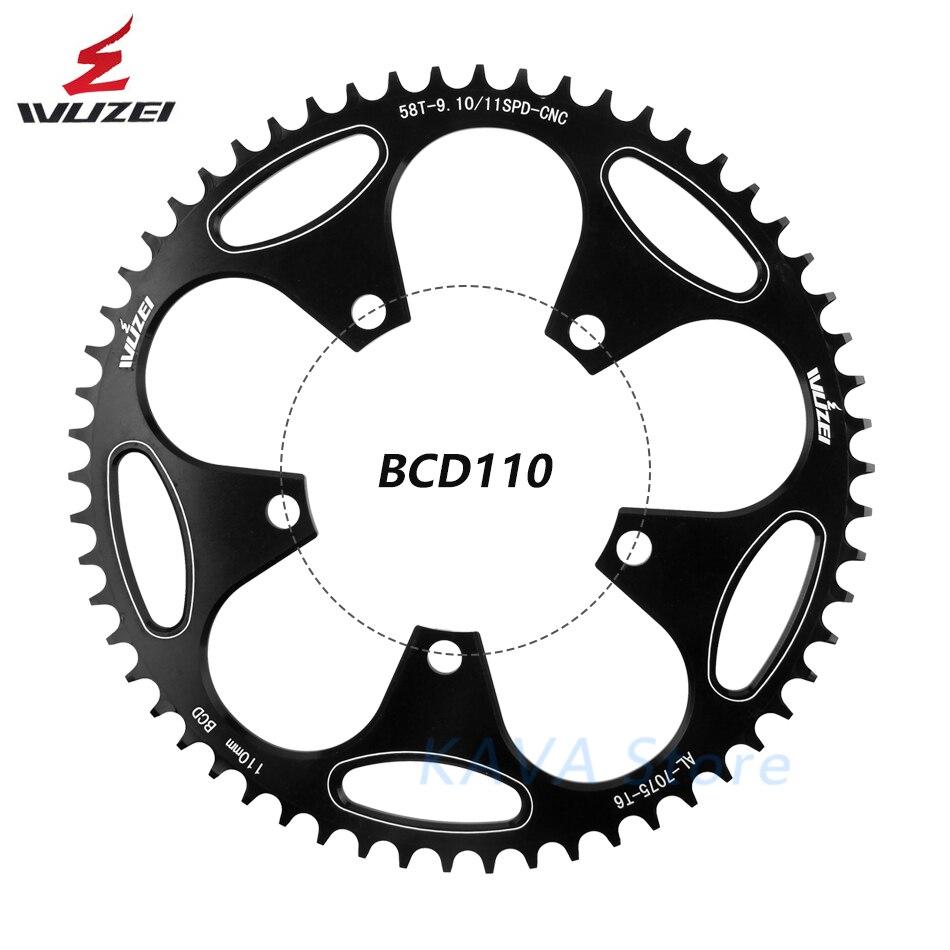 Rueda dentada WUZEI 110 BCD 50/52/54/56/58T rueda dentada bicicleta plegable para carretera piezas de plato dentado