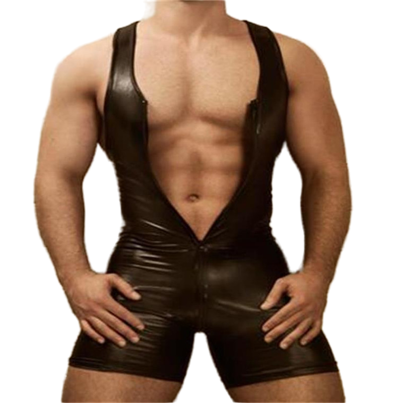 Men Lingerie Bodysuit Black Sexy Faux Leather Zipper Open Bust Stretch Tight Erotic Catsuit Fetish Gay Costumes Clubwear men s leather bodysuit latex catsuit men faux leather crotchless gay men s clothing body suit sexy lingerie one piece underwear
