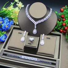 Étincelles de luxe brillant cubique Zircon goutte boucle doreille collier lourd dîner ensemble de bijoux accessoires de robe de mariée de mariage