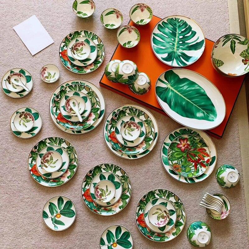Conjunto de utensílios de mesa jingdezhen high-end china casa tigela e prato luxo phnom penh presente porcelana hylaea placas