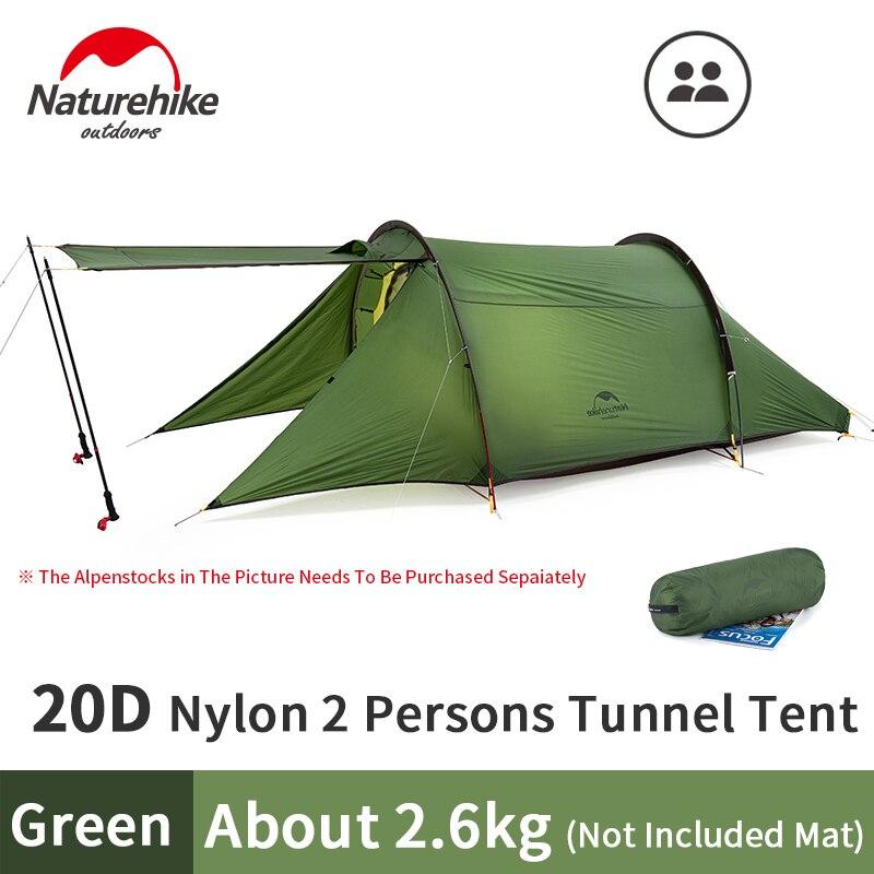 Naturehike YUNLU Outdoor 2 Person Tunnel Zelt Großen Raum 20D Nylon Wasserdicht Camping Zelt 2,6 kg Mit Lobby Doppel Schicht reise