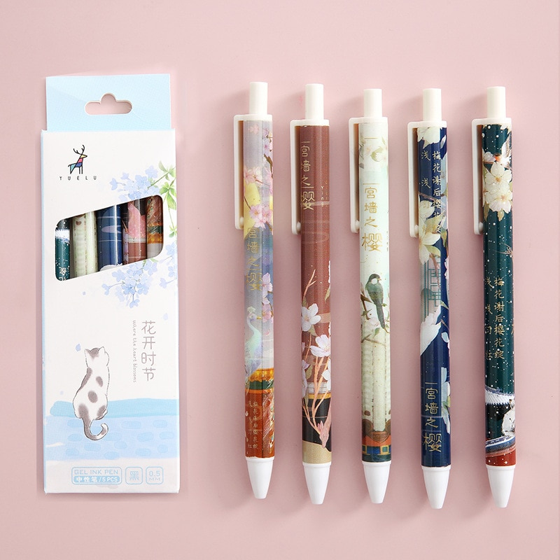 AliExpress - 5Pcs/Set Cute Peach Macaroon Color Retractable Gel Pen Black Ink Signature Writing Pen for Kids School Office Kawaii Stationery