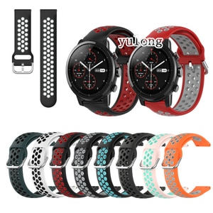 20mm 22mm Sport Silicone Breathable Strap For Huami Amazfit Stratos 2 2S 3 For Huami GTR 47mm/GTR 2/GTR 2e Smart Watch Wristband