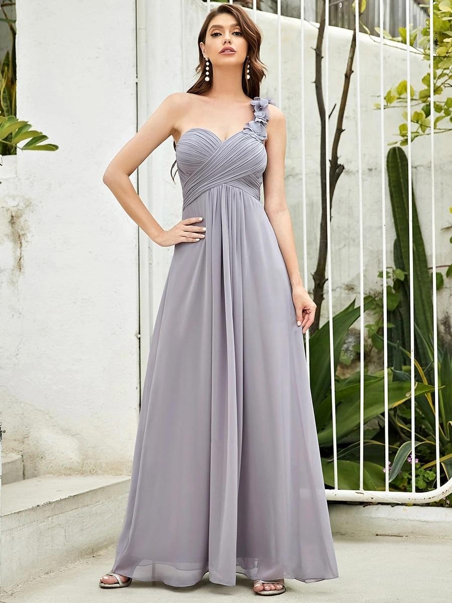 Maxi Long One Shoulder Chiffon Bridesmaid Dresses for Wholesale