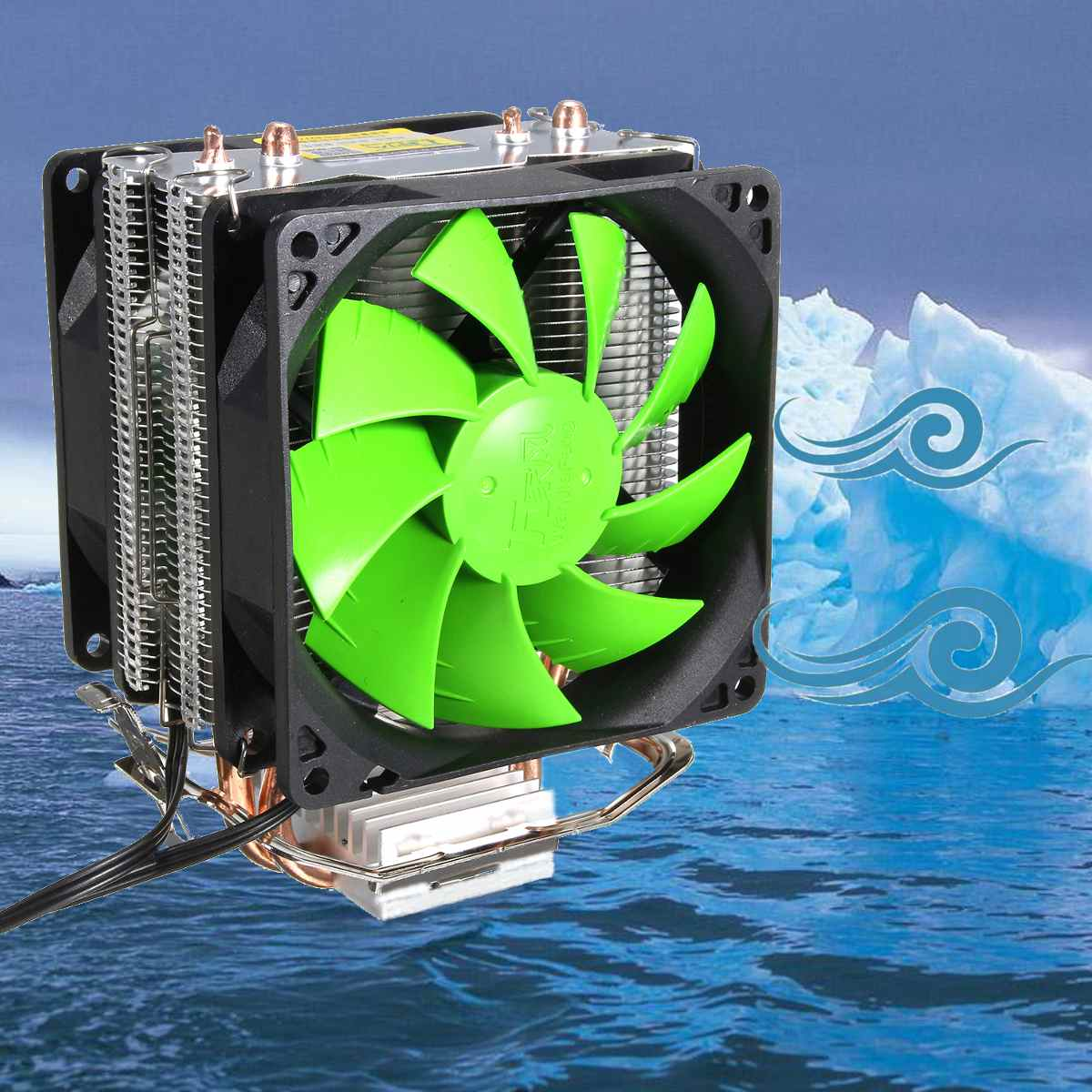 Radiador disipador de calor enfriador de CPU de ventilador Dual de 3 pines para Intel LGA775/1156/1155 AMD AM2/AM2 +/AM3 para AM4 Ryzen para Pentium