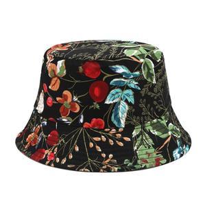 2019 Two Side Reversible Flower bucket hat for women fisherman hat female panama bob hat summer foldable