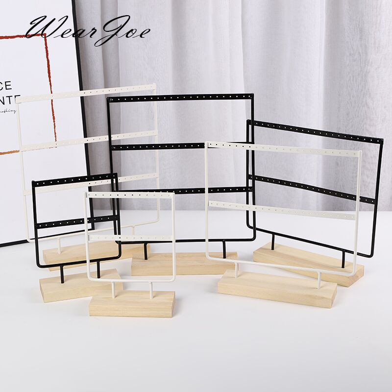Wholesale Wooden Base Metal Ear Studs Pendant Jewelry Holder Display Stand Organizer Earrings Presen