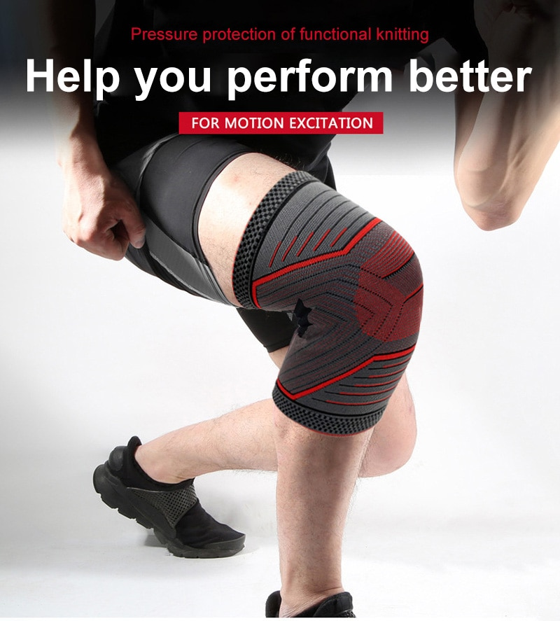 1PC Riding Kneepad Sports Kneepad Men Pressurized Elastic Knee Pads Support Fitness Gear Basketball Volleyball Brace Protector