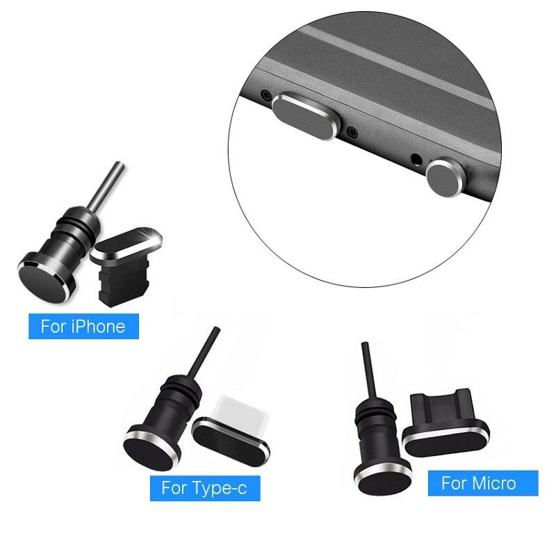Porta de fone de ouvido carregamento micro usb tipo c, plugue metálico tipo c com pino para carregamento, para iphone, huawei, xiaomi mi e android telefone móvel