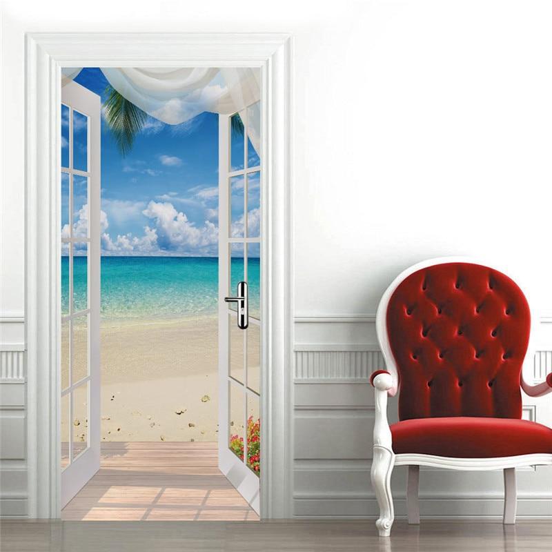 Pegatinas Para puerta de paisaje, Vinilos removibles 3D Para Puertas, papel tapiz...
