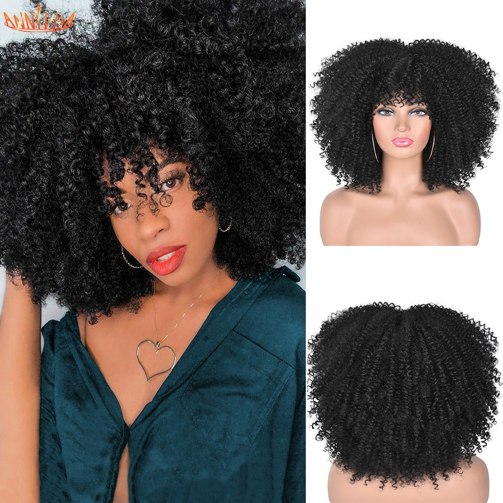 Short Hair Afro Kinky Curly Wigs With Bangs For Black Women African Synthetic Ombre Glueless Cosplay