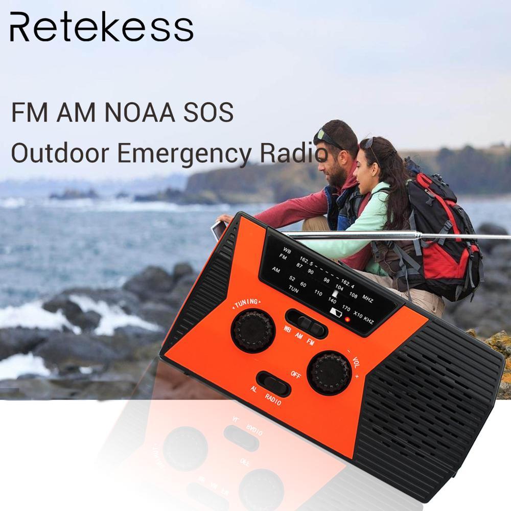 Radio de emergencia portátil RETEKESS HR12W FM AM NOAA SOS, iluminación LED impermeable, manivela de mano, receptor de Radio Solar para Camping
