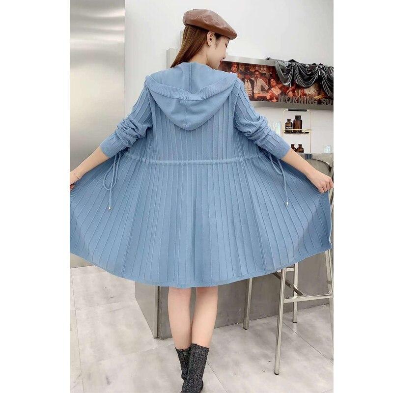 Women Knitted warm Sweaters coat Female long Sleeve O Neck Knitwear Autumn winter Solid dress woman sweaters  dress long coat enlarge
