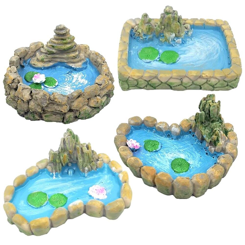 Миниатюрная сказочная Садовый пруд украшения Смола пейзаж аксессуары для аквариума декорации