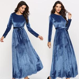 MD Robe Femme Hiver 2021 New Year Evening Dresses Elegant Long Sleeve Velvet Gowns Muslim Fashion Abaya Boubou European Clothing