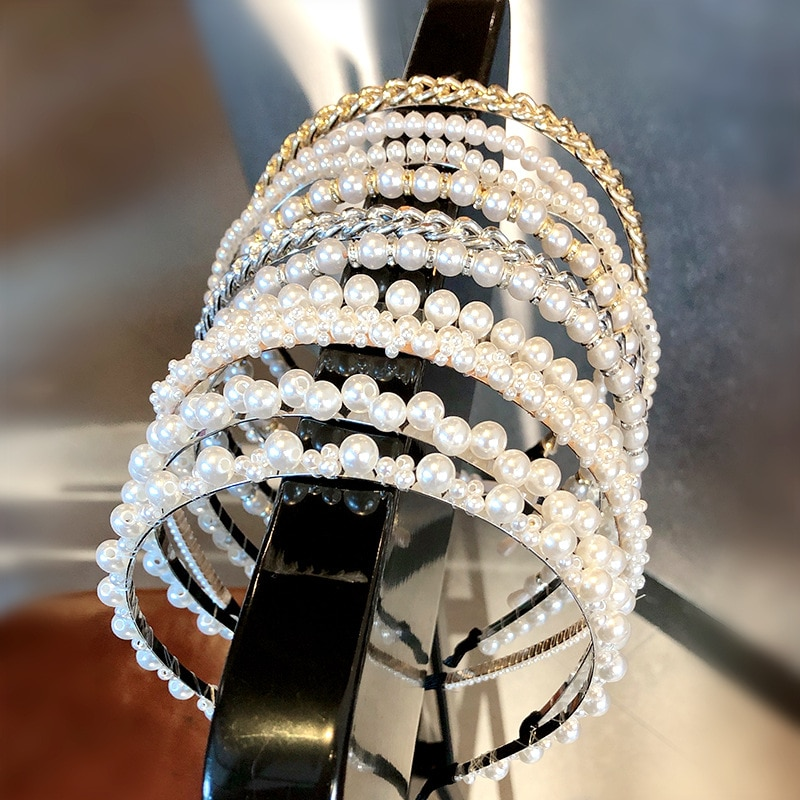 Diadema con perlas elegante a la moda para mujer, diadema con aros para el pelo, accesorios para el cabello
