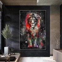 Affiche aquarelle couleur Lion  peinture sur toile imprimee Graffiti  decoration murale pour maison moderne  salon  decor Mural sans cadre