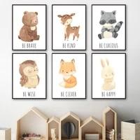 cartoon bear rabbit deer fox raccoon nursery wall art canvas painting nordic posters and print wall picture baby kids room decor