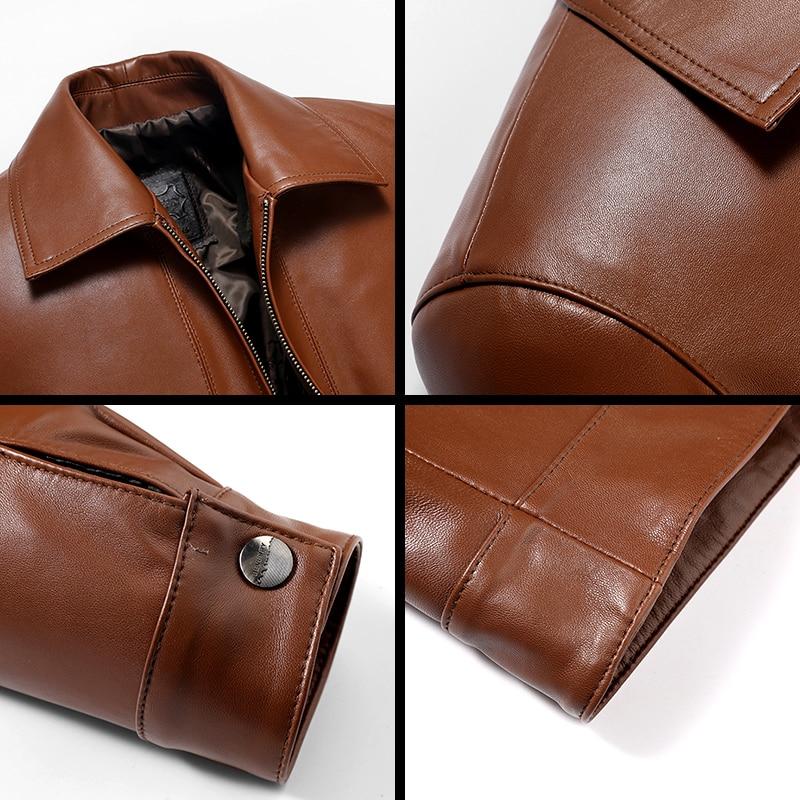 Jacket Men's Leather Real Sheepskin Coat Spring Autumn Genuine Leather Jacket Men Plus Size Blouson Cuir Homme 14BAQ00006671