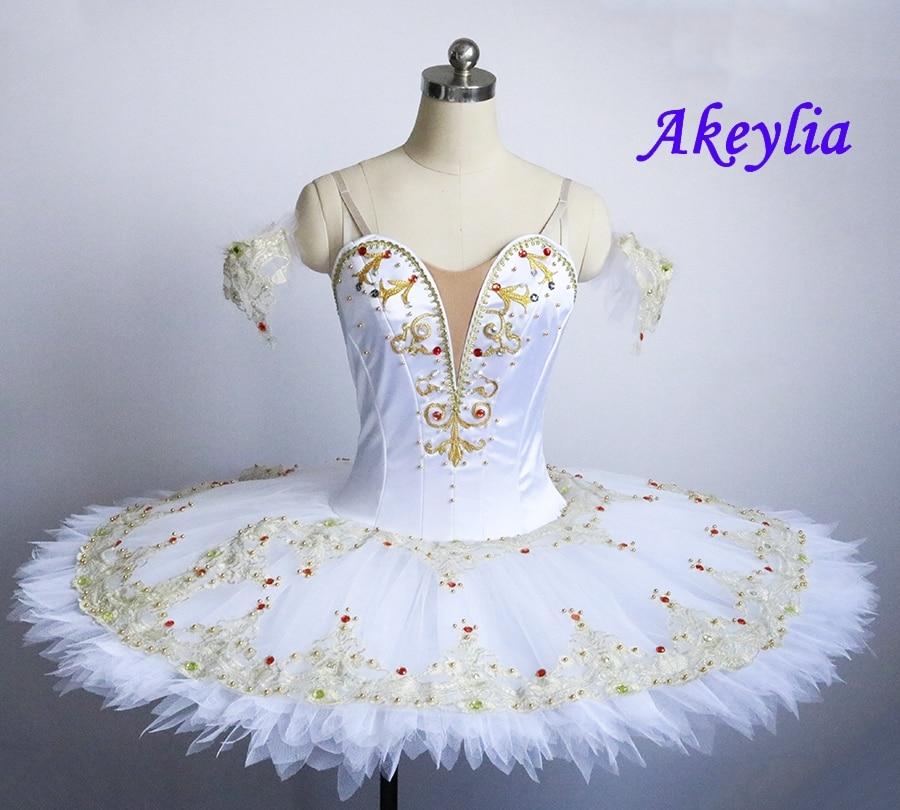 Professional Ballet Tutu White Gold Sleeping Beauty Performance Pancake tutus for women Classical Ballet Skirt Stage Costume недорого