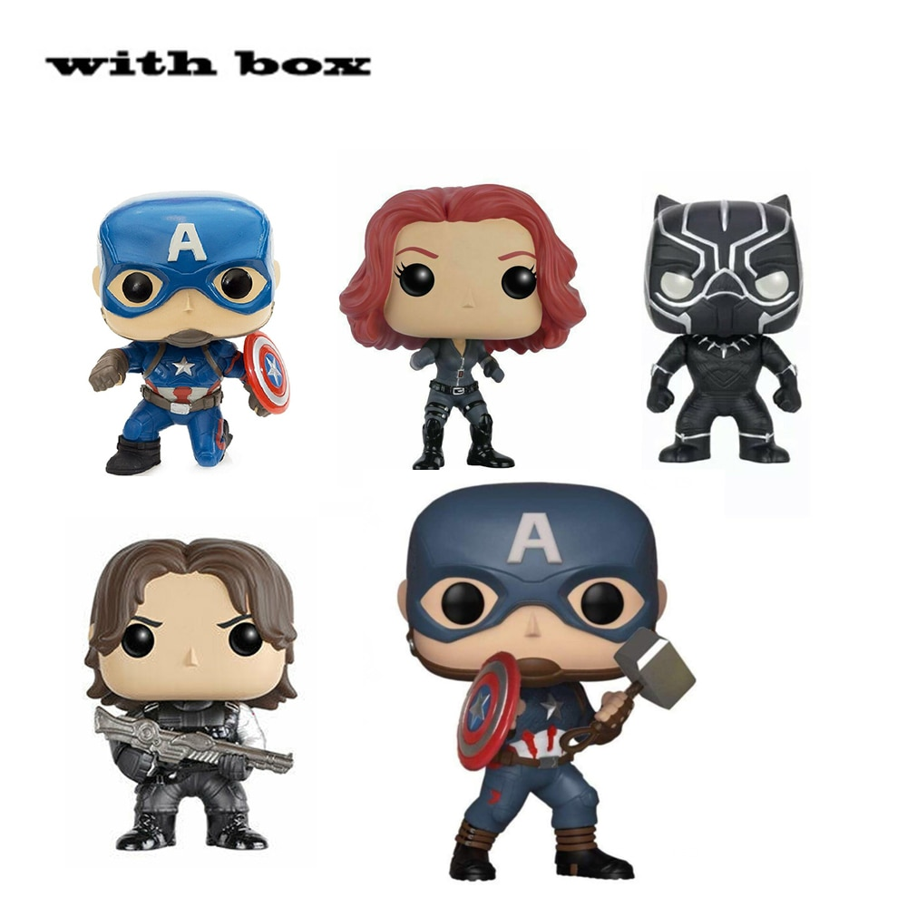 POP Captain America Black widow Winter Soldier BLACK PANTHER with box Action Figure Collectible Model toys for chlidren