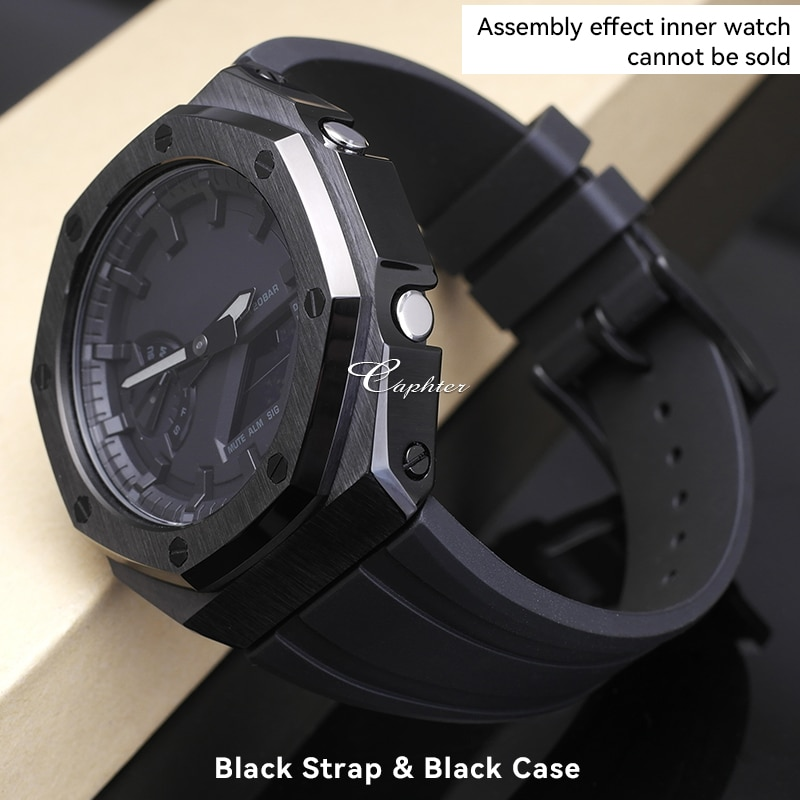 GA 2100 Steel Case Rubber Band GA-2100 Metal Bezel Rubber Strap For GA2100 GA2110 Watch Modification Accessories With Tools enlarge