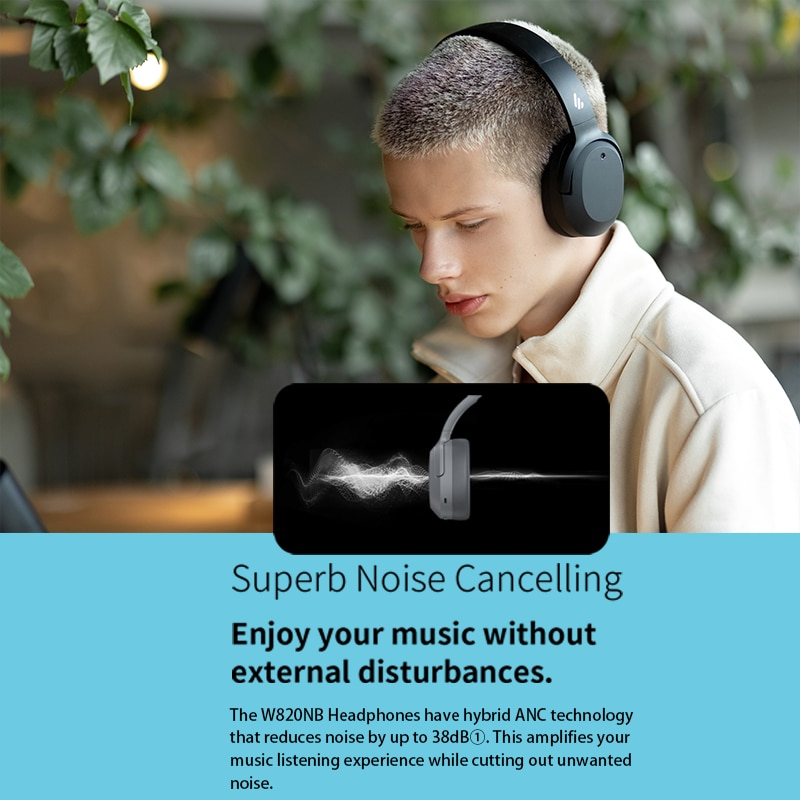 EDIFIER W820NB ANC Wireless Bluetooth Headphone Hi-Res Audio Bluetooth 5.0 40mm Driver Type-C Fast Charge Hybrid ANC enlarge