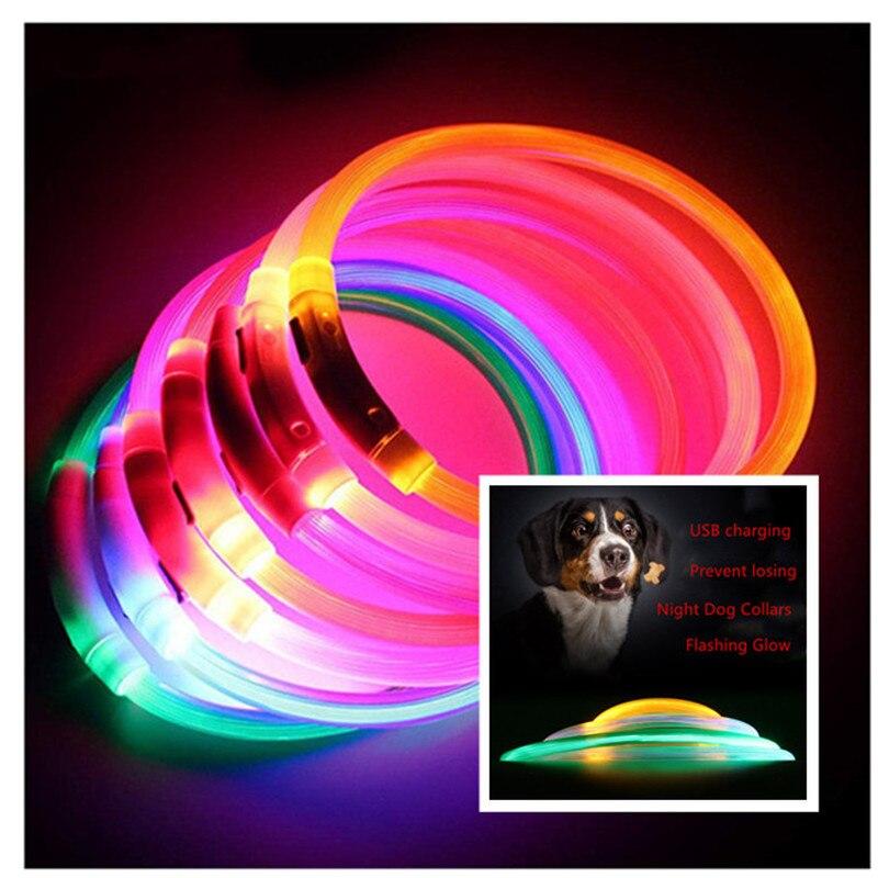 1 unidad de Collar de mascota perro Usb Led, Collar de perro de noche de PVC, collares luminosos recargables brillantes, luz LED intermitente de seguridad nocturna