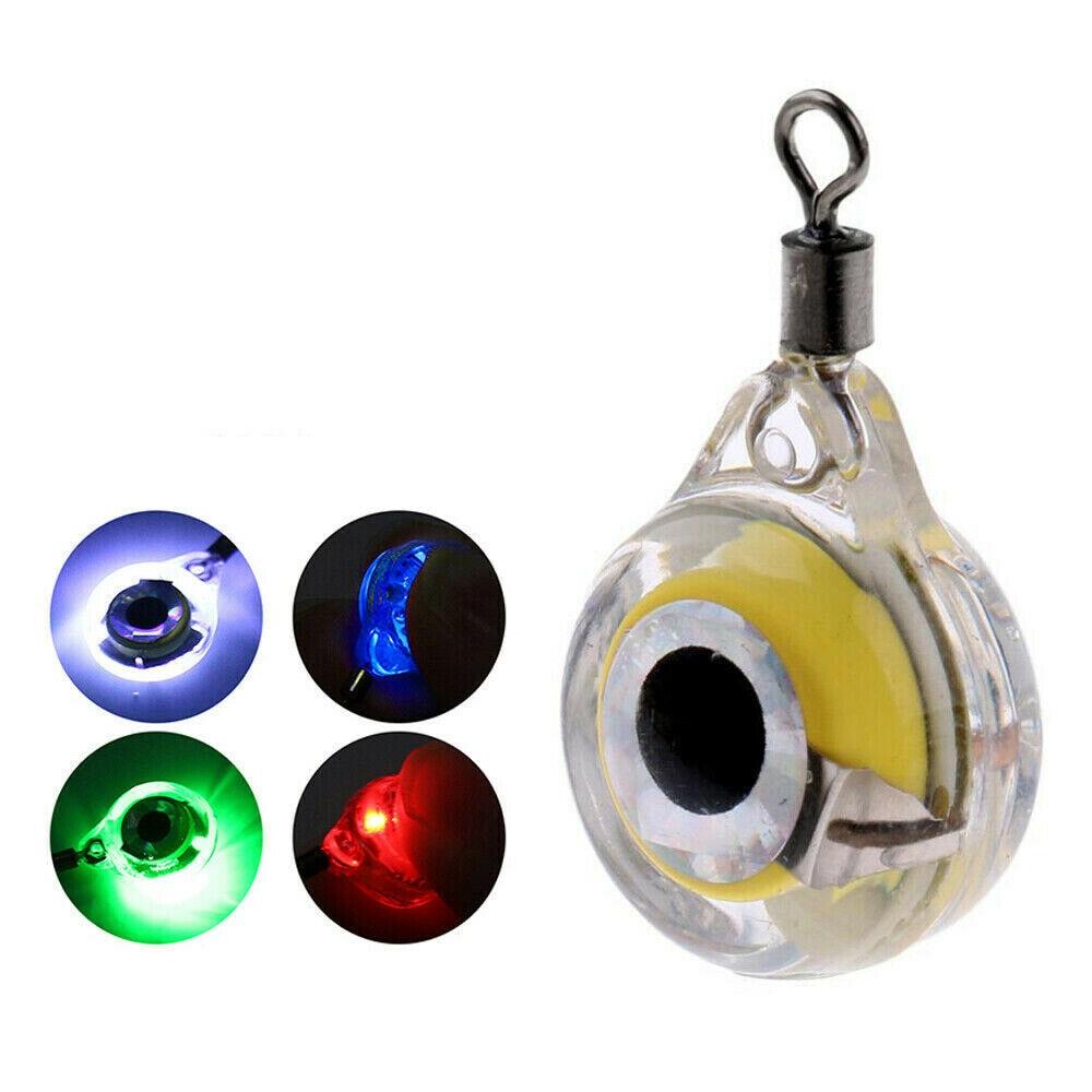 20pcs Mini Fishing Lure Light LED Deep Drop Underwater Eye Shape Fishing Squid Fishing Bait Luminous Lure for Attracting Fish