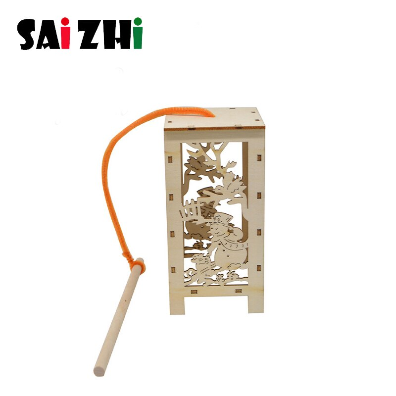 Saizhi diy de madeira dourado pendurado lanterna baubles criativo diy decorações do feriado pingente material pacote criança artesanato brinquedos presentes