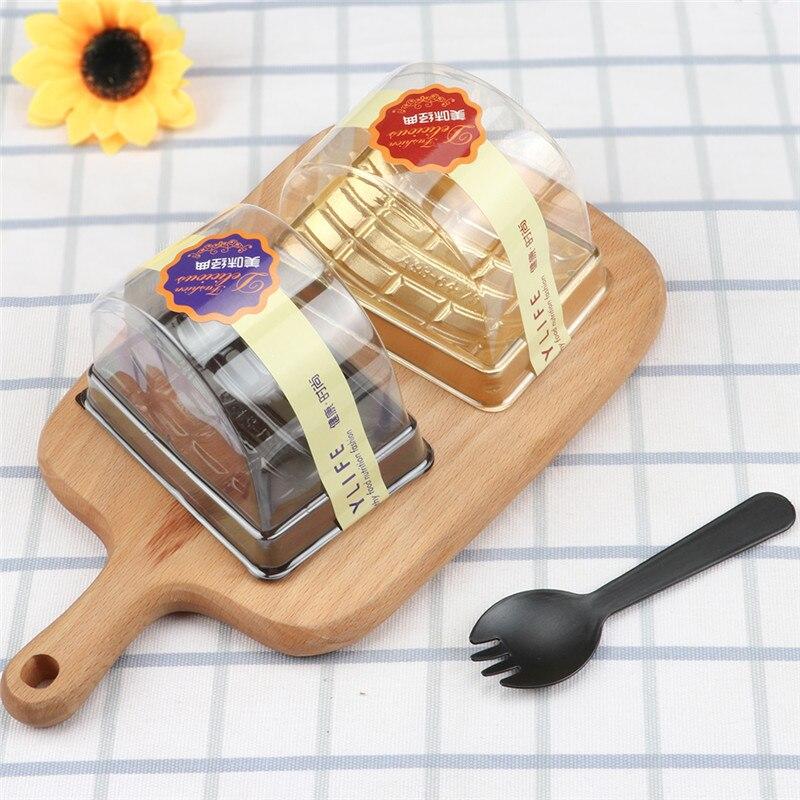 50 шт. полукруг Творческий прозрачные одноразовые коробки для тортов и пирожных