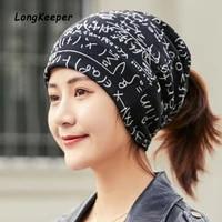 longkeeper brand design wmens hat letter print scarf caps headwear hedging cap gorros mujer touca