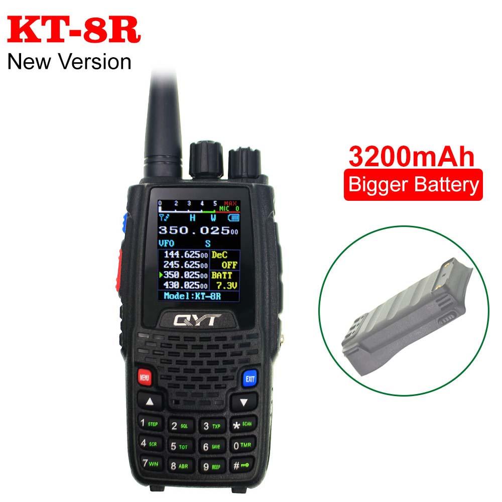 New QYT KT-8R with 3200mAh battery Quad Band 136-174MHz 220-260MHz 400-480MHz 350-390MHz handheld radio KT8R 5W UV walkie talkie