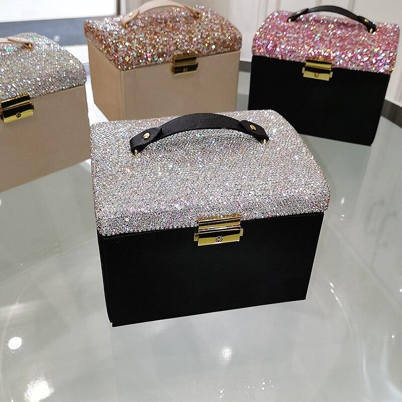 3 طبقات مستحضرات التجميل الماس المحمولة مجوهرات قلادة على شكل صندوق خاتم حقيبة للتخزين الكريستال المنزلية متعددة الوظائف مع مرآة الهدايا