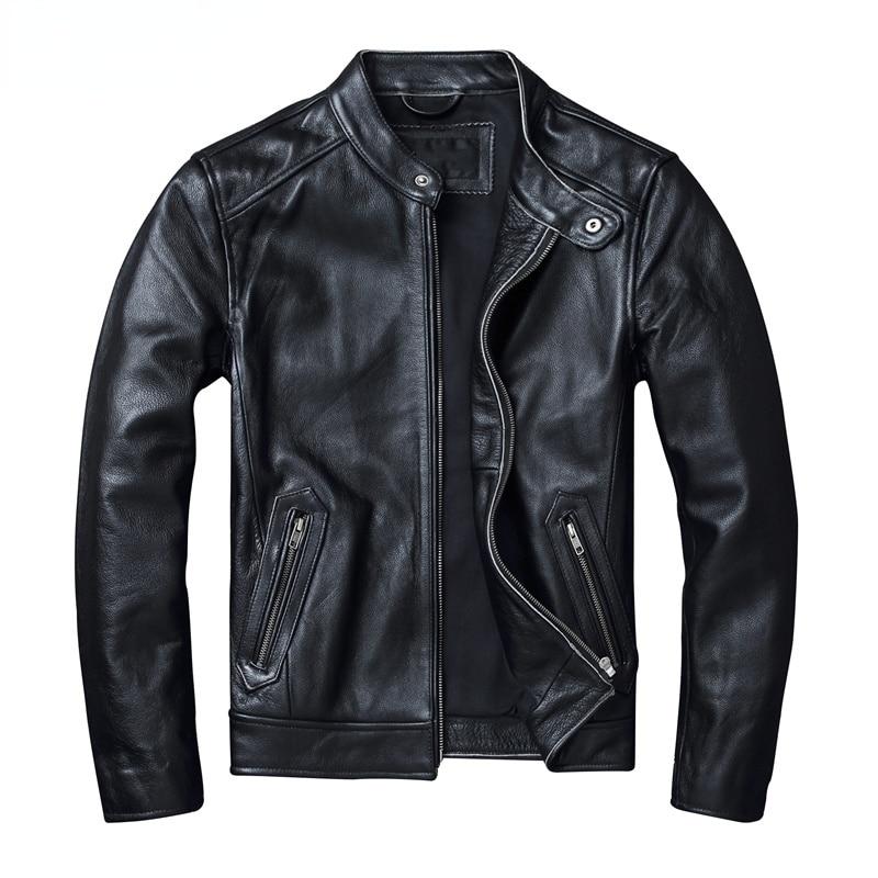 أسود حجم كبير 6XL الرجال جلد طبيعي دراجة نارية سترة عالية الجودة 100% جلد البقر الحقيقي جلد البقر سترة معطف الخريف الذكور