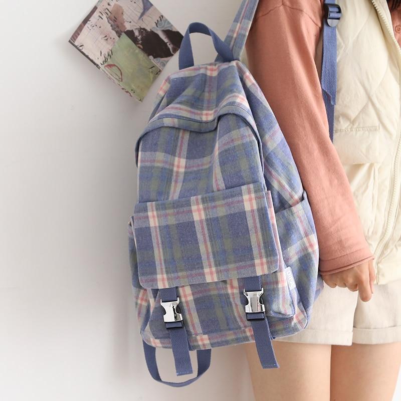 Women Vintage Plaid Backpack Female Korean College Shoulder School Bags Ladies School Backpack for Teens Cute Bookbag 2021 New