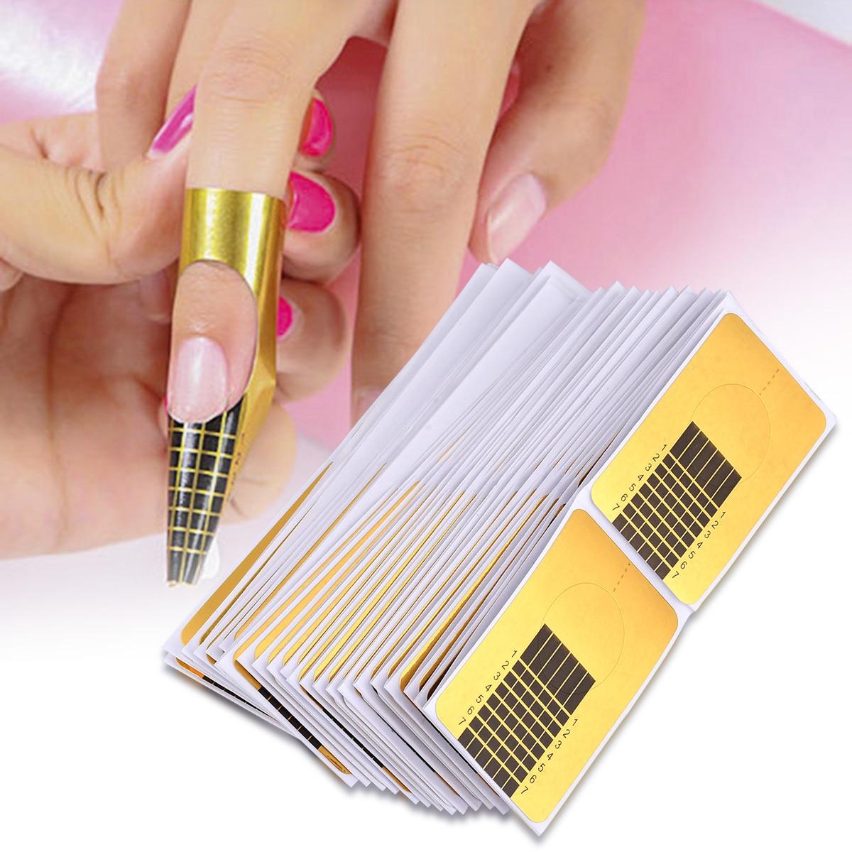100 unids/set puntas francesas para formas de uñas, manicura profesional para uñas, Gel adhesivo de extensión, forma de rizo, forma de guía para arte de uñas