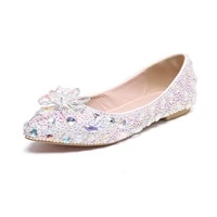 pointed handmade color diamond crystal flat shoes boat shoes wedding shoes zapatos mujere blue white