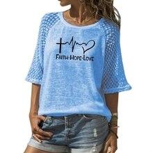 Nuova Fede Speranza Amore Lettere Stampa T-Shirt Per Le Donne Del Merletto Girocollo T-Shirt Top T-Shirt Donna Magliette e camicette Punk Cotone Camiseta giappone