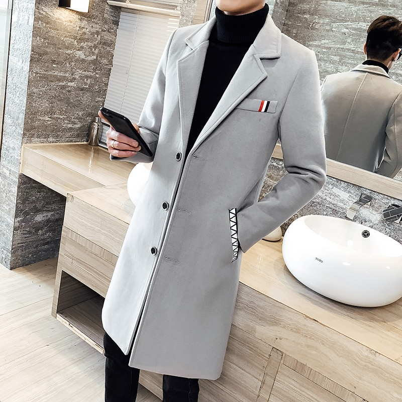 2019 new fashion boutique solid color windbreaker long slim jacket large size 5XL autumn and winter
