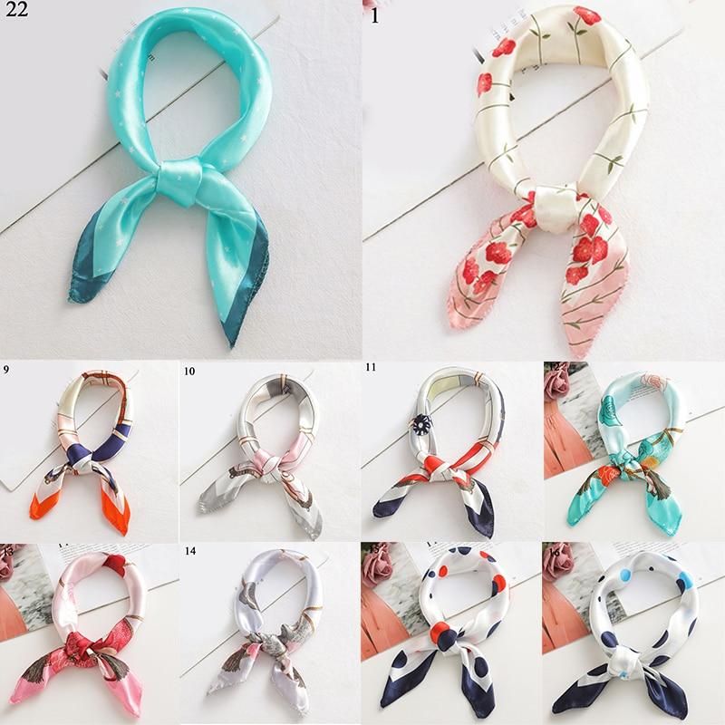 Small Printed Scarves Hair Scarf Square Silk Satin Head Tie Band Retro Neckerchief Bandana Shawl