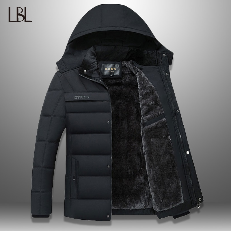 Parkas de invierno para hombre, chaqueta gruesa a prueba de viento, informal para hombre 2020, gorro impermeable, Abrigo con capucha desmontable, abrigo de lana cálido, ropa de calle